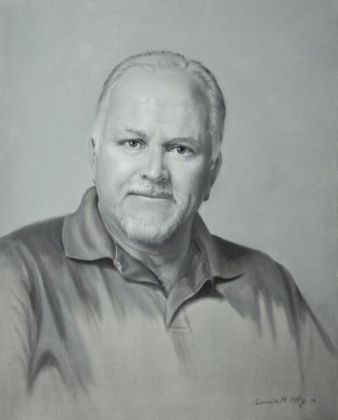 This is a grisaille, a black and white tone oil portrait of George, on canvas. 16 x 20 inches.