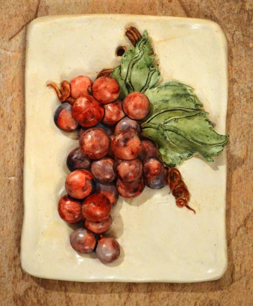 Watercolor over baked clay sculpture of grapes