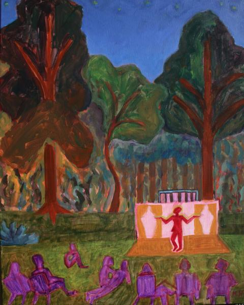 "Hamlet At Evergreen Meadow, acrylic, 30""x24"", 2015"