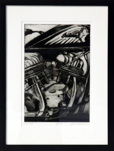 Mezzotint Indian Motorcycle by Brett Stuart Wilson