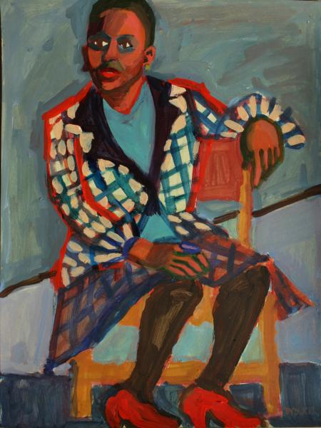 "Jazz Singer, acrylic, 16""x12"", 2015"
