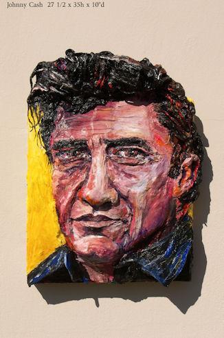 Built-Out Portrait of Johnny Cash by Artist Brett Stuart Wilson