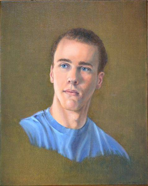Oil portrait on canvas of a young man, Joseph. 16x20 inches.