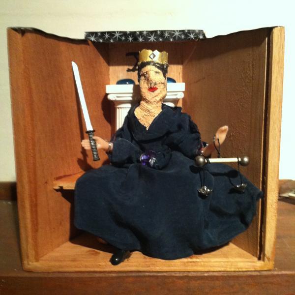 assemblage, mixed media, cigar box, judge, tarot, scales
