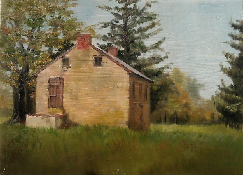 Oil on canvas of the old stone house at Old Fields, Bel Air, MD 9x12 inches.