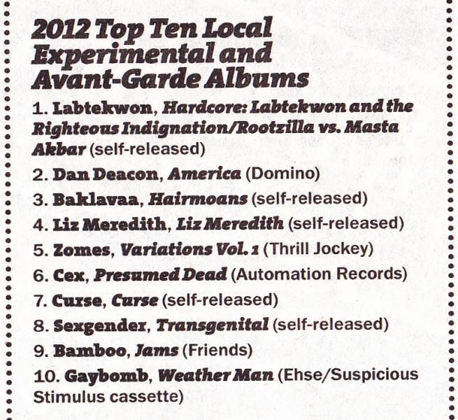 "Liz Meredith LP, ""2012 Top Ten Local Experimental and Avant-Garde Albums"".  Baltimore City Paper Vol. 36, No. 50 (December 12-19th, 2012)."