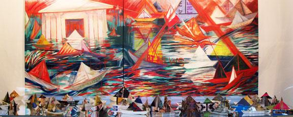 Brightly colored oil painting with paper boat installation
