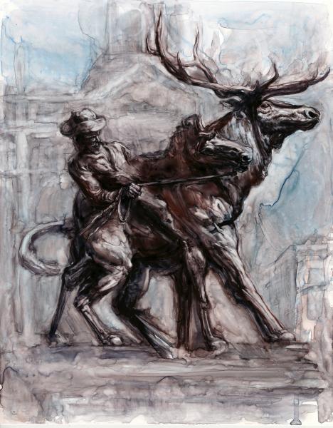 cowboy, history painting, watercolor