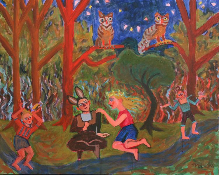 "Midsummer At Evergreen Meadow, acrylic, 24""x30"", 2015"