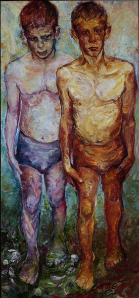 two aspects of youth, strong, textural paint contrasts softer pastel paint, Kouros pose