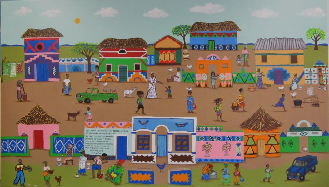 Colorful painted mud huts in an Ndebele Village