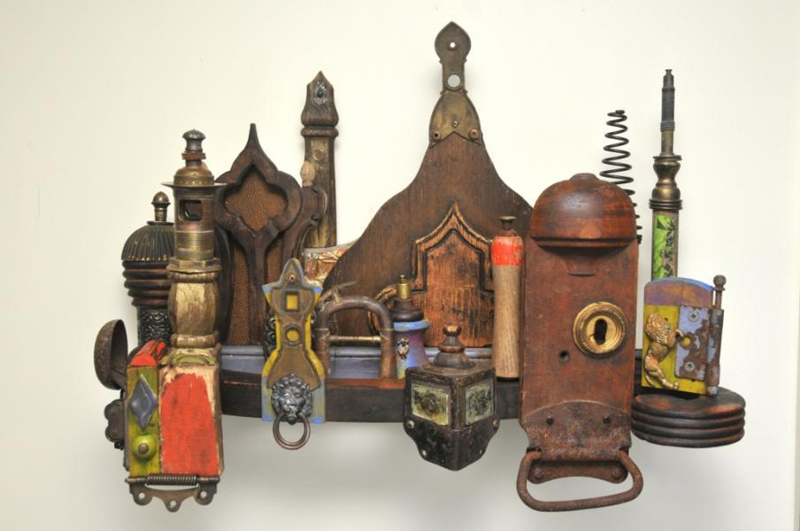 townscapes, found objects, wall assemblage, mixed media