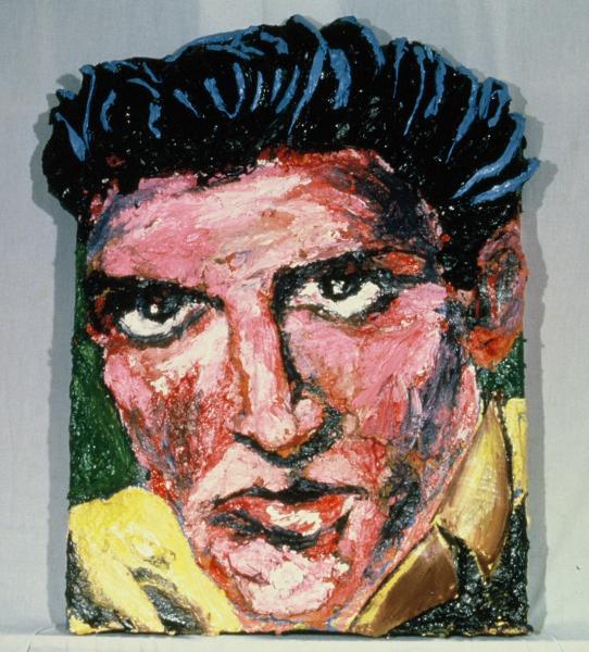 Built-Out Portrait of Elvis Presley by Artist Brett Stuart Wilson, in the Sylvio Perlstein Collection