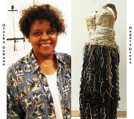 Oletha DeVane translated the Biblical story of Hagar's struggles in the wilderness by making her garment with barbed wire and chains.