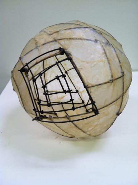 """Door to other worlds. Thank you Mr. Carroll Steel, animal membrane. 10"""" x 11"""" x13"""""""