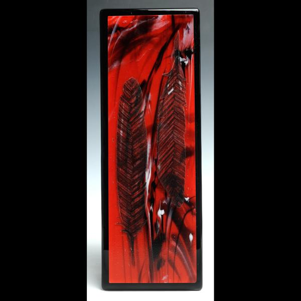black/red, kilnformed glass artwork by Ursula Marcum