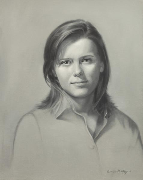 This is a grisaille, black and white, of a young woman, Sam.  It is 16x20 i