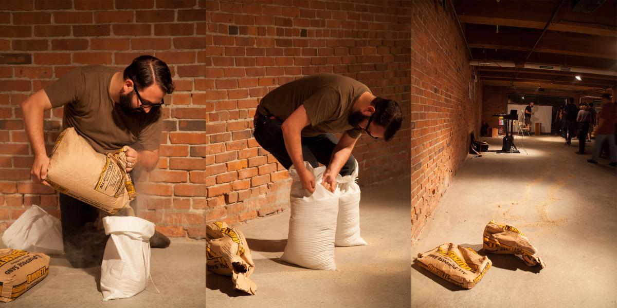 Performance with Sand, Empty Sandbags, and Utility Knife | Studio Soto (Boston, MA) | 2013 | photos by Daniel DeLuca