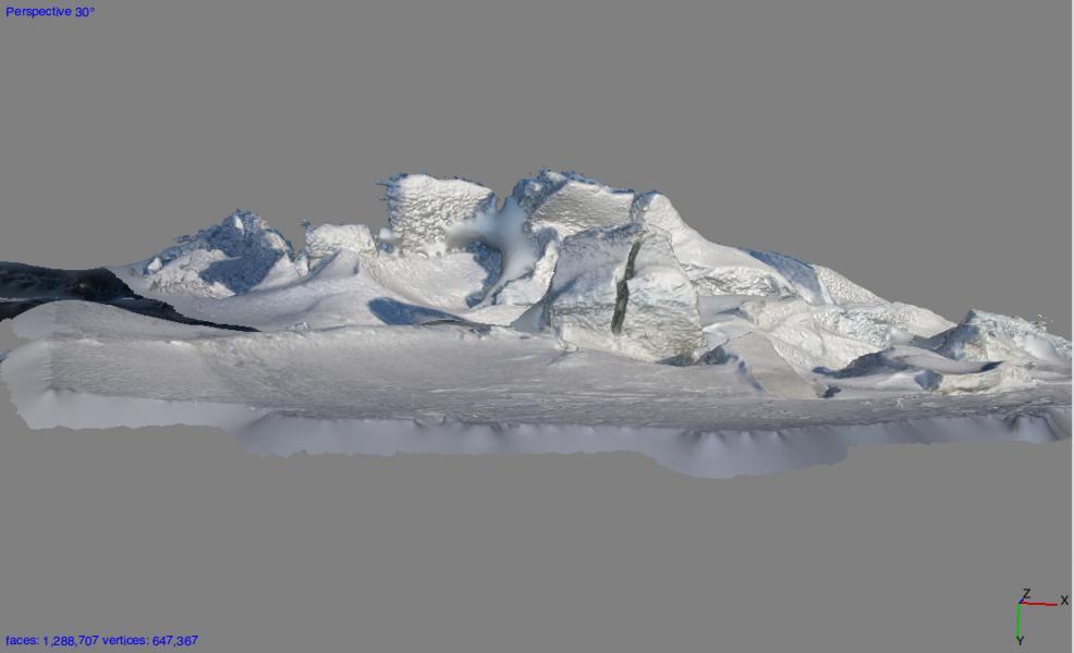 Screenshot of 3D File of Scott Base Pressure Ridge, Antarctica