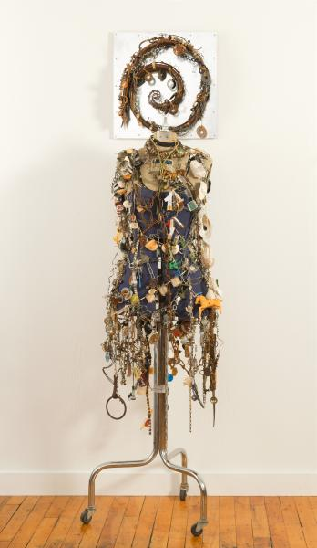 foun objects, assemblage, self portrait, mannequin, figurative