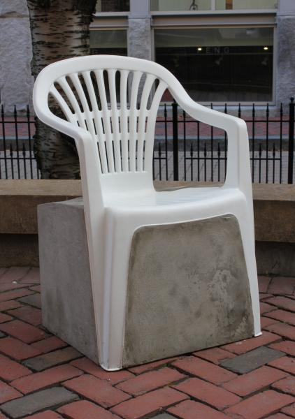 "Set Us Apart | Plastic Chair and Concrete | 22"" x 24"" x 36"" 