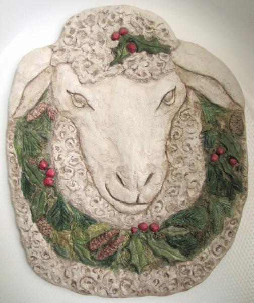 sheep head wreath, concrete, lamb, sheep, Christmas