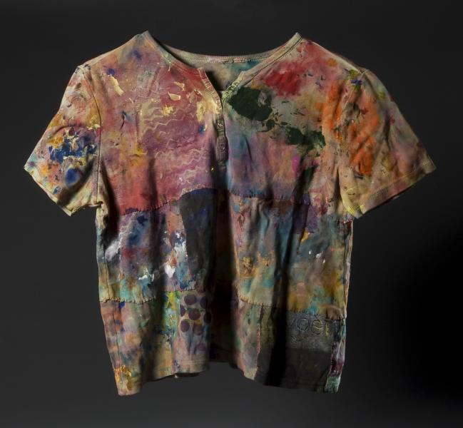 painting rag shirts, acrylic, painting, painting rags, sewing, thread, putting pieces back together, making a painting, shirts, t-shirts, sleeves, colors, paint, cleaning brushes, recycling, repurposing, painting history, wearable art, wearable paintings