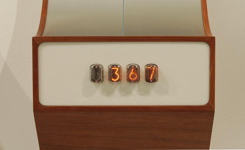 walnut, corian, aluminum, electronics -  displays data from facebook - number of groups, friends, and upcoming events