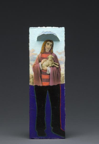 statues, installation, my father, funeral cards, death, holy, lambs, painting, collage