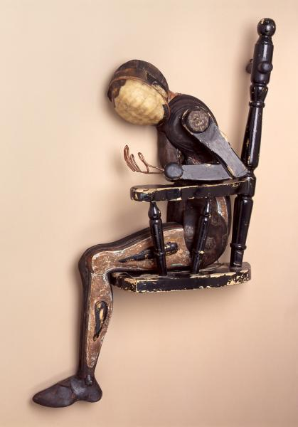 found objects, wall assemblage, mixed media, figurative, sculpture