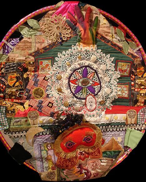 """Front side of """"hula hoop quilt"""" self-portrait. Fabric and collected memorabilia, quilted and supported on hula hoop.  Nov 2013"""