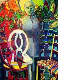 """In this oil my gray, masked, studio """"muse"""" is haloed by the color wheel and surrounded by chairs. Her mask reflects the puzzling feelings that go along with getting older."""