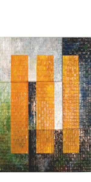following 9/11.  Five panels of woven: scrap copper and steel, abrasive belts, tire retread, cardboard and table mats.  all material was burned, treated with chemicals and some panels were coated with lime and clay.