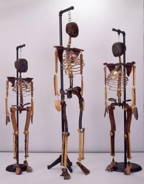 found objects, skeletons, medical imagery, sculpture, repurposed, mixed media
