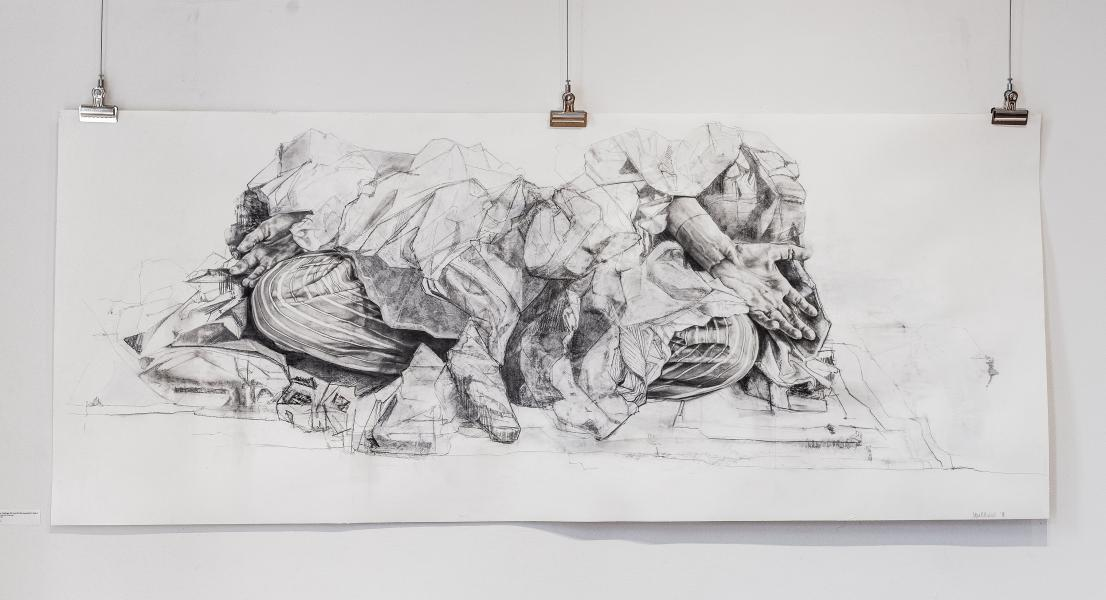 "All the Feelings... , graphite and charcoal on paper, 72"" x 32"", 2018"