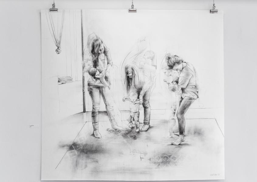"Three Graces Plus, graphite and charcoal on paper, 66"" x 60"", 2018"