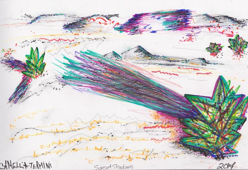 mixed media, drawing, landscape, white sands, new mexico