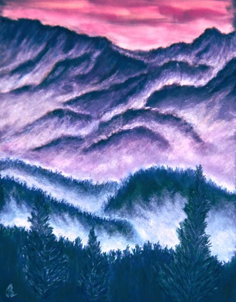 Smokies-Tientes Rouges, landscape, mountains, ridges, trees, pines, smoke, smoky mountains, mist, pastel, painting, impressionistic, JBL-Art, Barrie Leigh, TN, Tennessee