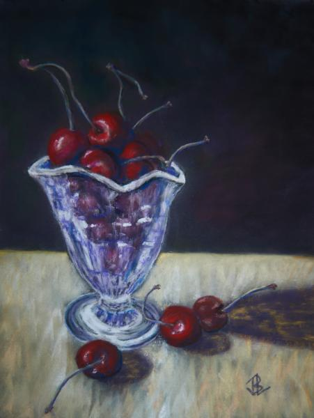 Light, Shadow, Glass, Cherries, Reflection, Fruit, still life, pastel, painting, realistic, JBL-Art, Barrie Leigh