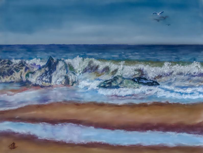 Tide, Beach, Henlopen Park, Gordon Pond, Surf, Rollers, Tide Pools, Rocks, Sand, Sea, Delaware, DE, pastel, painting, realistic, JBL-Art, Barrie Leigh