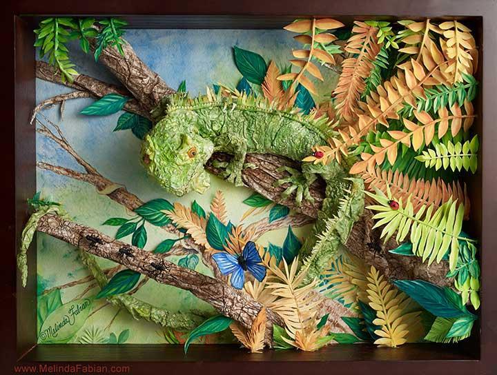 Iguana Paper Sculpture