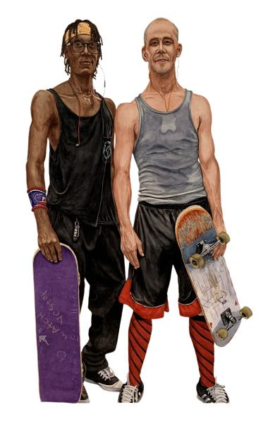pandemic watercolor couples portraits skateboarders mask-free