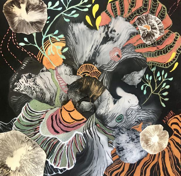 metallic watercolor, mushroom spore print, shaman, nature