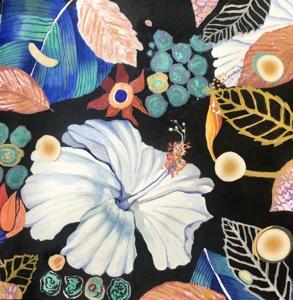 marbelized paper, metallic watercolor, floral, nature