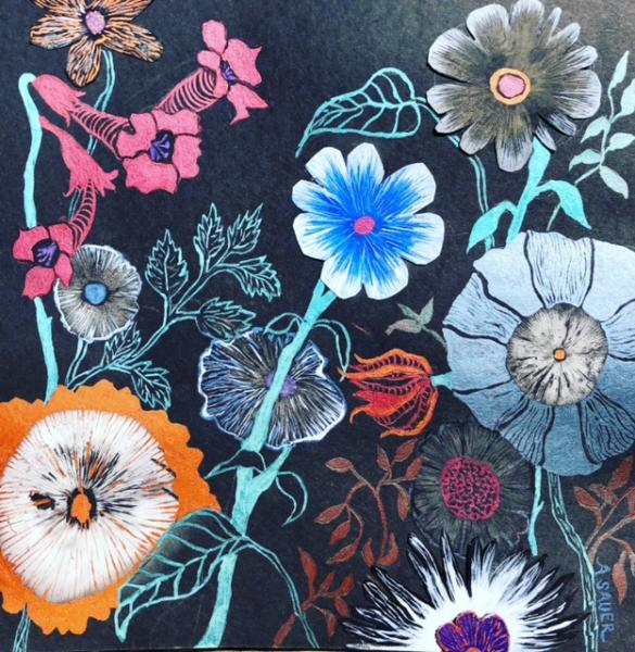 mushroom spore print, watercolor, metallic, nature, shamanic tradition