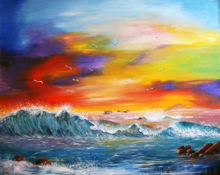 oil painting, sunset painting, sunset, ocean, waves, beach painting, paradise, tropical