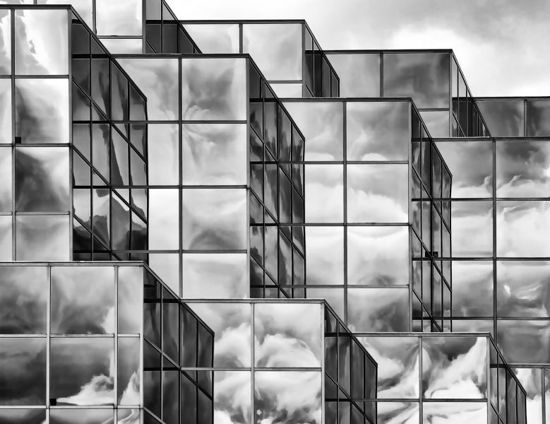 Cloudy Day black and white abstract reflection architecture building glass clouds M&T Bank Timonium Maryland