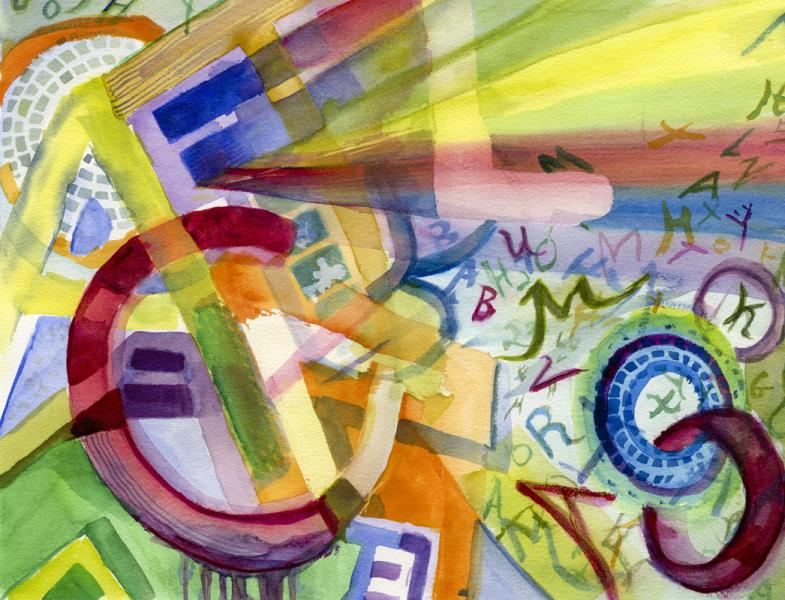 watercolor painting of colorful ovelapping and emerging letters