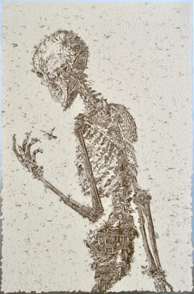 Skeleton art, Kate Norris art, mixed media collage, collage art, non-binary