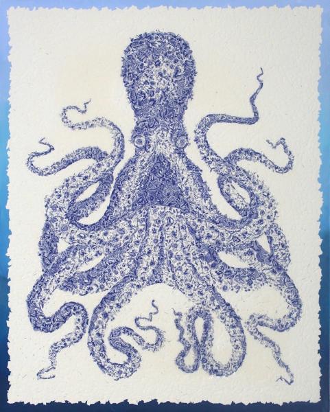 Octopus art, octopus, mixed media collage, kate norris art